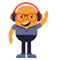 man with headphones on white background vector image vector image