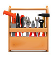 narrow wooden toolbox with tools vector image vector image