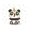 panda with unicorn horn vector image vector image