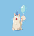 party cat with blue balloon cartoon vector image vector image