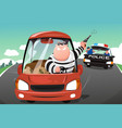 police chasing criminals in a car on the highway vector image vector image