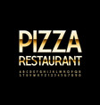 premium logo pizza restaurant gold alphabet set vector image