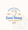 premium quality organic local honey product sign vector image vector image