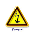 realistic 3d plastic yellow high voltage sign toy vector image