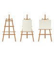 realistic detailed 3d blank wood easels template vector image vector image