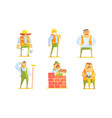 repairman cartoon characters set cheerful vector image vector image