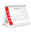 September 2017 desk calendar vector image vector image