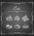 set cakes in grunge art style vector image