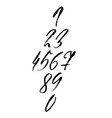 set of calligraphic ink numbers dry brush vector image