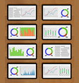 set of chart and graphic on tablets vector image vector image
