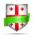 Shield with flag Georgia and ribbon vector image vector image