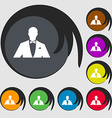 Silhouette of man in business suit icon Symbols on vector image vector image