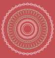 simple laced mandala in pink and green colors on a vector image