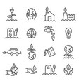 simple set of ecology related outline icons vector image
