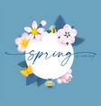 spring circle banner with soft flowers bees vector image