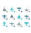 stylized different types of plane icons vector image vector image
