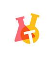 t letter lab laboratory glassware beaker logo icon