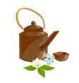 teapot of herbal tea for spa design jasmine vector image vector image