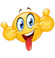 thumbs up emoticon with tongue out vector image vector image