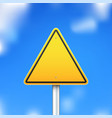 triangle road sign on blue sky background vector image vector image
