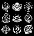 Vintage white dragon tattoo labels set vector image