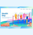 web page design template shows physical exercises vector image
