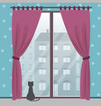 window with city view in a cozy room with a cat vector image vector image