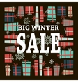 Winter sale background with white lettersgifts vector image