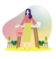 young college student standing in front of table vector image