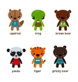 Cartoon animal characters with smiley faces vector image