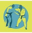 Poster with jiu-jitsu fighters vector image