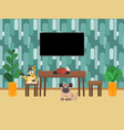animals sit near the table in the kitchen near vector image