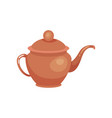 brown ceramic teapot kitchenware vector image vector image