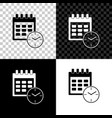 calendar and clock icon isolated on black white vector image