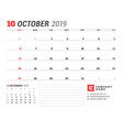 calendar template for october 2019 business vector image