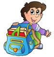 cartoon boy with school bag vector image