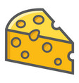 cheese filled outline icon food and drink dairy vector image