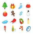 christmas isometric 3d color icons set vector image vector image