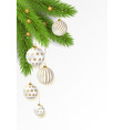 christmas tree branches with hanging gold and vector image