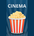 cinema popcorn concept banner cartoon style vector image vector image