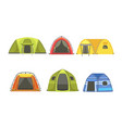 collection tourist tents hiking and camping vector image