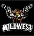 cowboy mascot character logo with guns vector image vector image