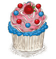cupcake with pink and blue cream vector image