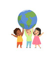 cute multicultural little kids standing under the vector image vector image