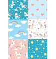 cute unicorn pattern set vector image