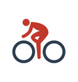 cycling icon on white background vector image vector image