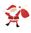 dancing santa claus with sack of gifts vector image