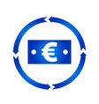 euro bill turn icon vector image vector image