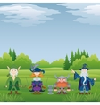 Fantasy heroes in forest vector image vector image