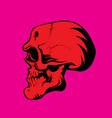 ferocious grinning red skull vector image